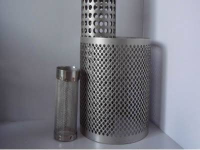 Two round hole perforated filter and a woven wire mesh filter.
