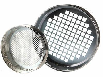 Two stainless steel sieve with perforated square holes in the bottom.